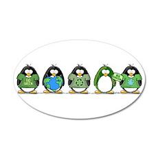 Eco-friendly Penguins 20x12 Oval Wall Peel