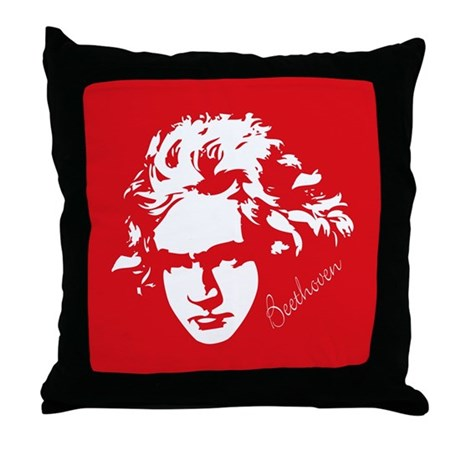 Beethoven Red and Black Music Throw Pillow