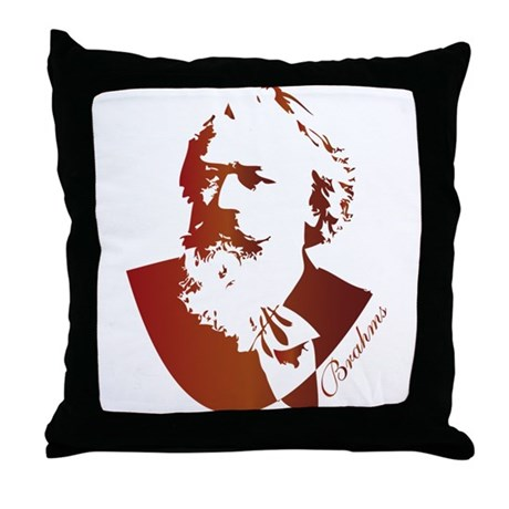 Brahms Composer Silhouette Throw Pillow