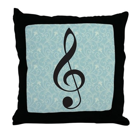 Musician Gift Treble Clef Blue Throw Pillow