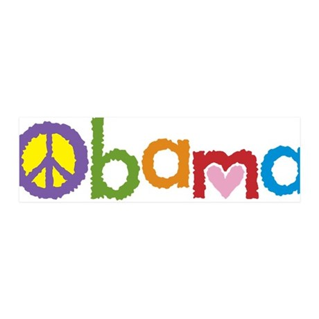 Peace, Love, Obama 36x11 Wall Peel
