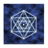Celestial Blue Star Tile Coaster