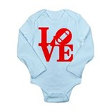 Love skate deck red Long Sleeve Infant Bodysuit