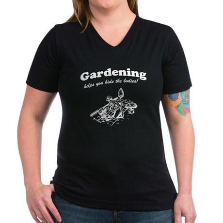 Gardening Helps Womens V-Neck Dark T-Shirt