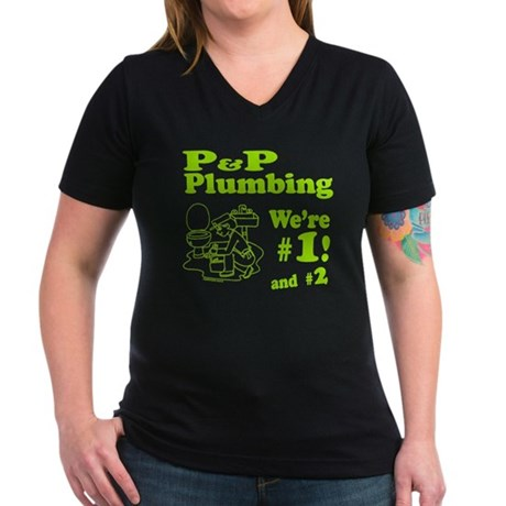 P P Plumbing Women's V-Neck Dark T-Shirt