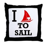 I Love to Sail Throw Pillow