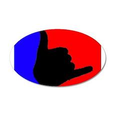 Blue/Red Shaka 20x12 Oval Wall Peel