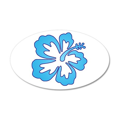 Blue Surf Flowers 35x21 Oval Wall Peel