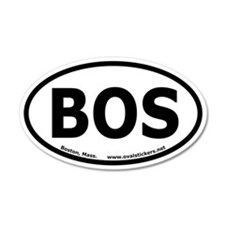"Boston, Mass. 35x21 Oval Wall Peel ""BOS"""