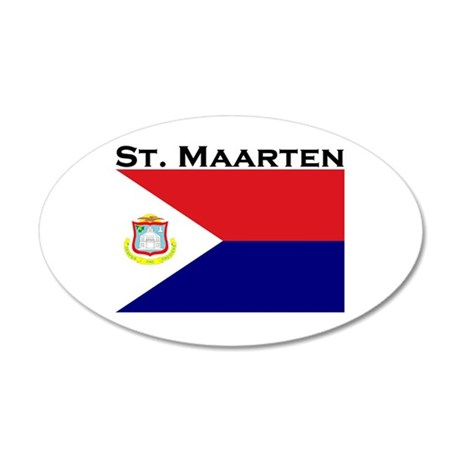 St. Maarten Flag 35x21 Oval Wall Peel