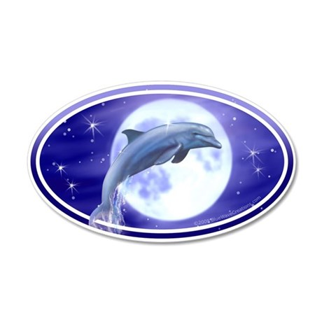 Dolphin Moon car bumper sticker decal (Oval)
