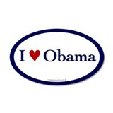 I heart Obama. Oval sticker.