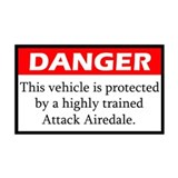 Danger Airedale Terrier Sticker