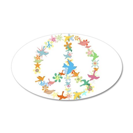 Abstract Art Peace Sign 20x12 Oval Wall Peel
