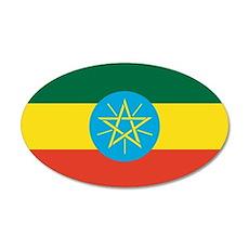 Ethiopian Flag 35x21 Oval Wall Peel