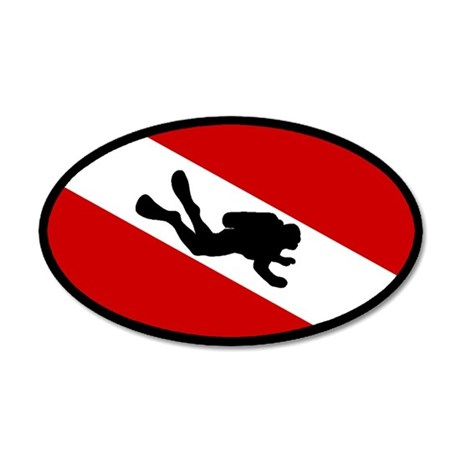 Diver Down Flag Diver 20x12 Oval Wall Peel