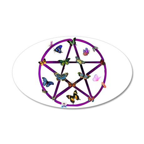 Wiccan Star and Butterflies 35x21 Oval Wall Peel