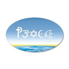 Peace-OM on earth Day 35x21 Oval Wall Peel