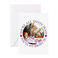 WERE ALL QUITE MAD_purple Greeting Cards