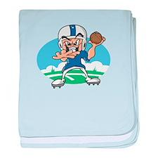FOOTBALL *34* {blue} baby blanket