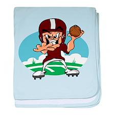 FOOTBALL *34* {crimson} baby blanket