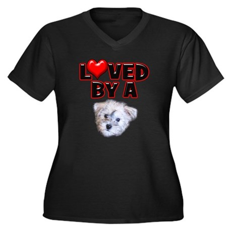 Loved by a Schnoodle Women's Plus Size V-Neck Dark