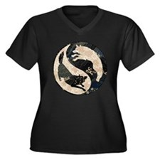 Origami Yin-Yang Wolves Women's Plus Size V-Neck D