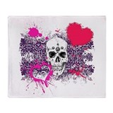 Biker Girl Pink Hearts and Skulls Throw Blanket