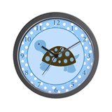 Mod Turtle Blue Dot Wall Clock
