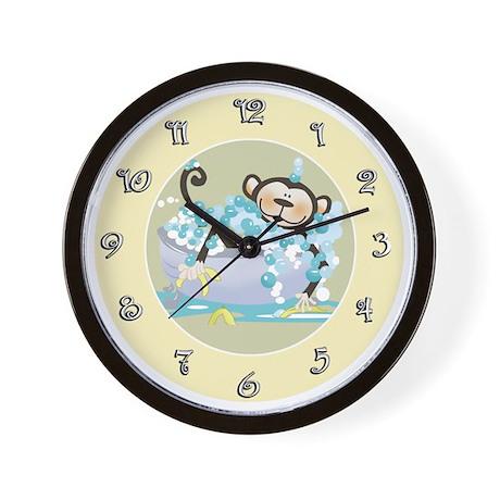 Brown Monkey In Tub Kids Bathroom Wall Clock By Artbyjessie