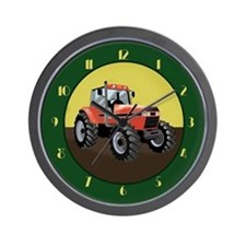 Red Tractor with Green Border Wall Clock