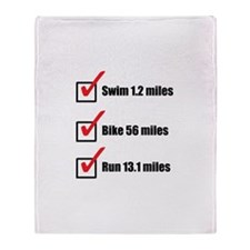 Check - Half Distance Triathlon Throw Blanket
