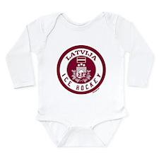 LV Latvia/Latvija Hockey Long Sleeve Infant Bodysu