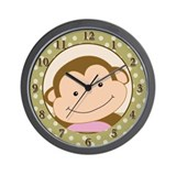 Papagayo Monkey Tan Dot Wall Clock