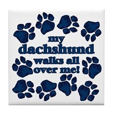 Dachshund WALKS Tile Coaster
