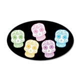 Colorful Day of the Dead 35x21 Oval Wall Peel