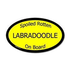 Spoiled Labradoodle On Board 20x12 Oval Wall Peel