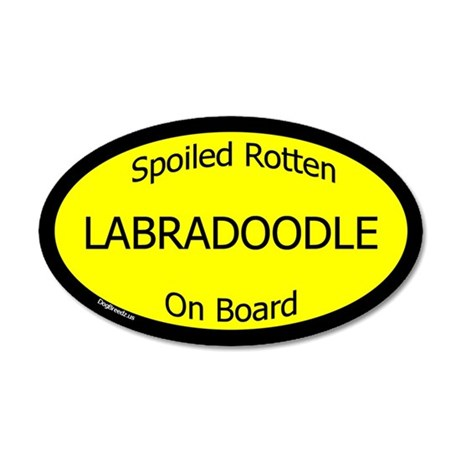 Spoiled Labradoodle On Board 35x21 Oval Wall Peel