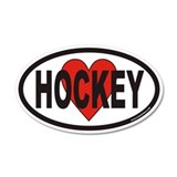 I Love Hockey Euro 20x12 Oval Wall Peel