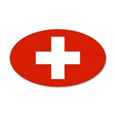 Swiss Flag 35x21 Oval Wall Peel