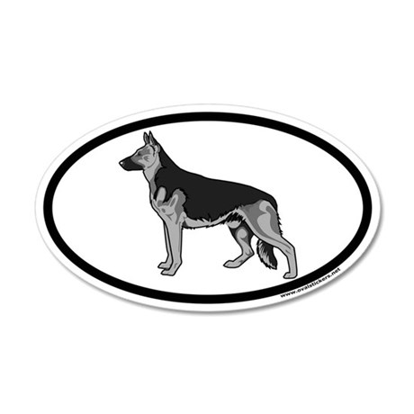German Shepherd Euro 20x12 Oval Wall Peel