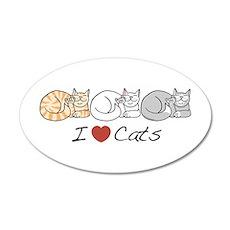 I Heart Cats 20x12 Oval Wall Peel