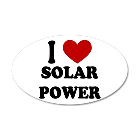 I Heart Solar Power 35x21 Oval Wall Peel