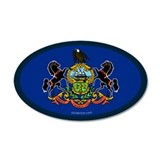 Pennsylvania State Flag 35x21 Oval Wall Peel