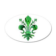 Irish Green Fleur de lis 35x21 Oval Wall Peel