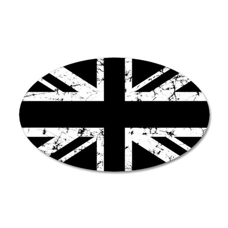 &quot;Black Union Jack&quot; 20x12 Oval Wall Peel