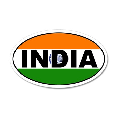 India (Indian) Flag 35x21 Oval Wall Peel