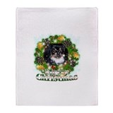 Merry Christmas Pekingnese Bl Throw Blanket