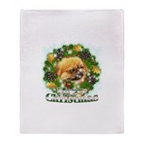 Merry Christmas Pekingese Throw Blanket