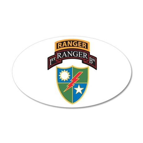 1st Ranger Bn with Ranger Tab 35x21 Oval Wall Peel